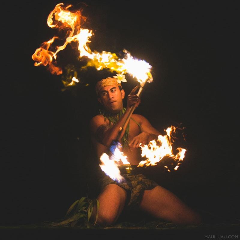 Maui luau fire dancer
